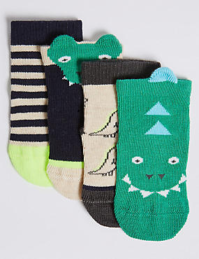 4 Pairs of Crocodile Baby Socks (0 - 24 Months)
