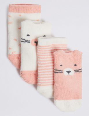5 pairs of Pink /& Cream Baby Girls design socks