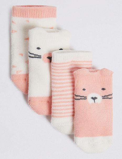 4 Pairs of Bear Terry Baby Socks