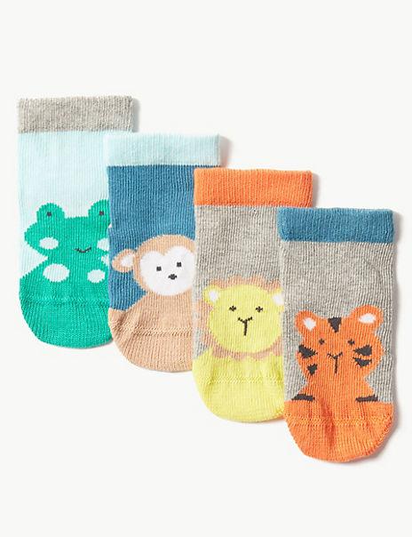 4 Pairs of Animal Baby Socks