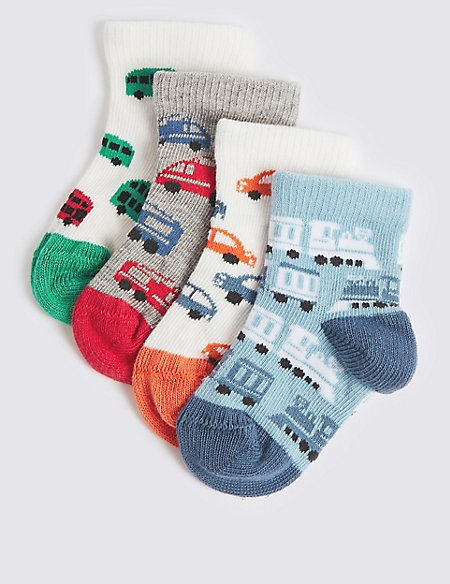 4 Pairs of Bus Print Baby Socks
