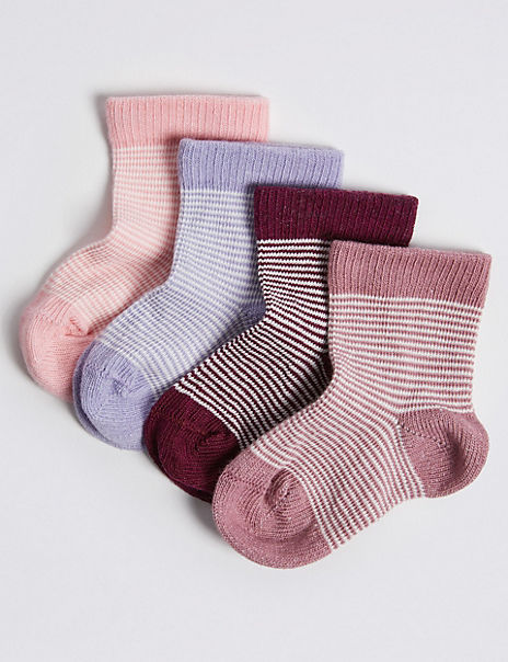 4 Pairs of Feeder Stripe Baby Socks
