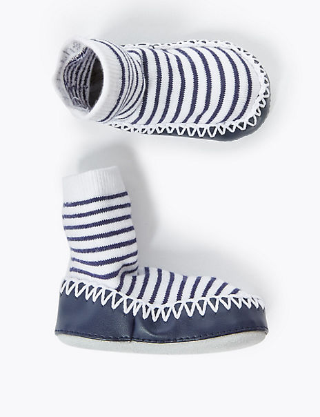 Striped Moccasin Slippers Boots
