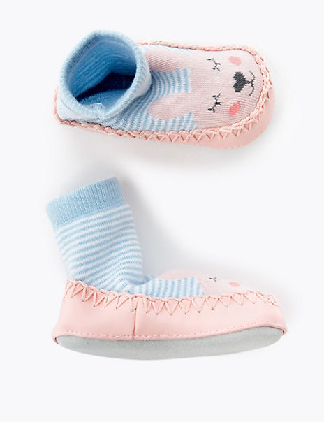Bunny Print Moccasin Slippers Boots