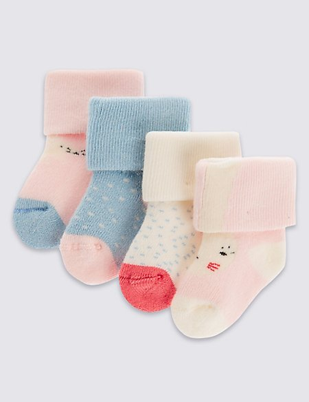 4 Pairs of Cotton Rich StaySoft™ Assorted Socks