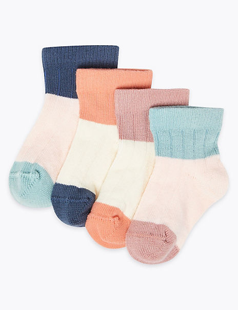 4 Pairs of Colour Block Baby Socks