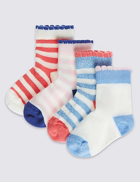 4 Pairs of Cotton Rich StaySoft™ Striped Socks (0-24 Months)
