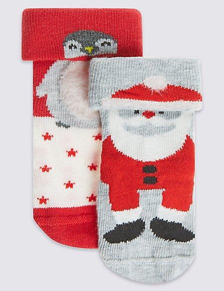 2 Pairs of Cotton Rich StaySoft™ Santa Socks (0-24 Months)
