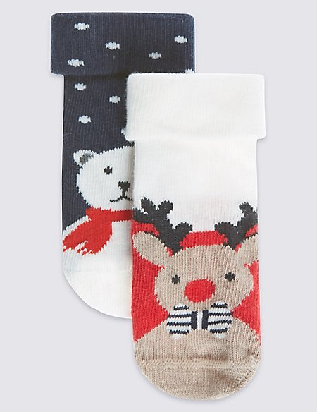 2 Pairs of Cotton Rich StaySoft™ Reindeer Socks (0-24 Months)