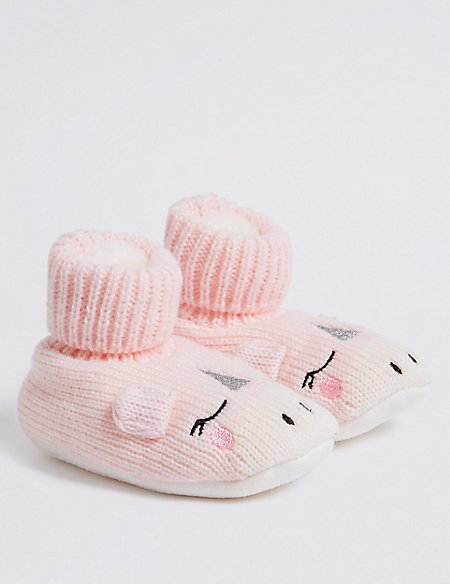 1 Pair of Unicorn Booties (0 - 24 Months)