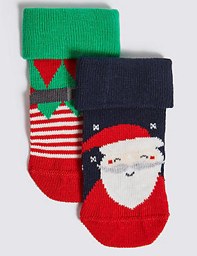 2 Pairs of Santa Socks (0-24 Months)