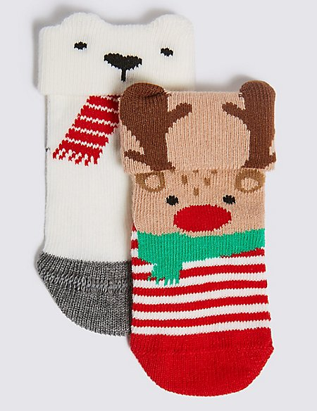 2 Pairs of Cotton Rich Baby Socks (0-24 Months)