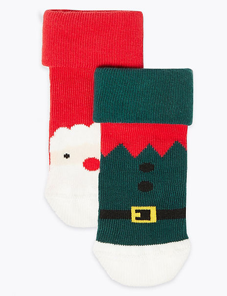 2 Pack Santa Ankle Baby Socks