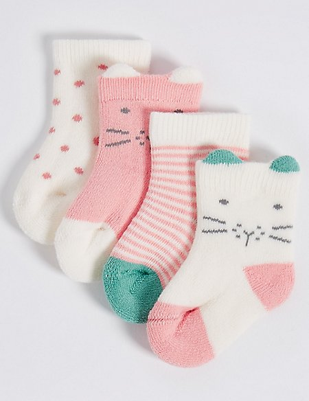 4 Pairs of Cotton Rich Socks with StaySoft™ (0-12 Months)
