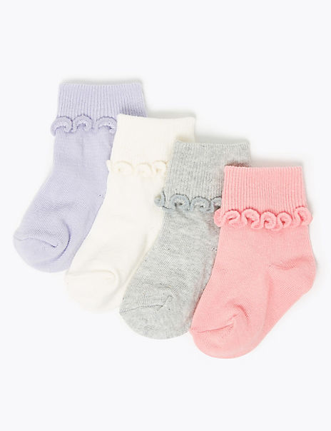 4 Pack of Cotton Rich Frill Baby Socks