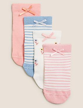 4pk Cotton Floral & Striped Baby Socks (0-24 Mths)