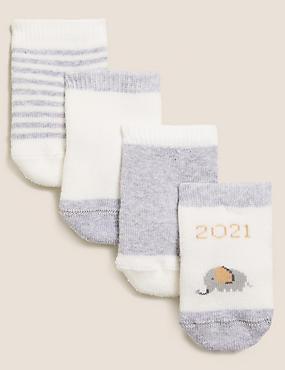 4pk Cotton Born in 2021 Terry Socks (0-12 Mths)