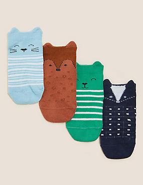 4pk Cotton Animal Baby Socks (0-24 Mths)
