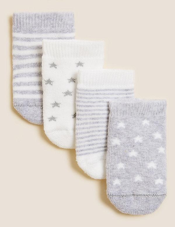 4er-Pack Babysocken aus Baumwollfrottee (0–24 Monate)