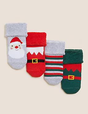 Pack de 4 pares de calcetines de de rizo navideños para bebés (7lbs-24meses)