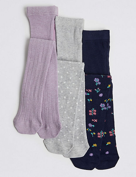 3 Pair of Floral & Ribbed Tights (18 Months - 14 Years)