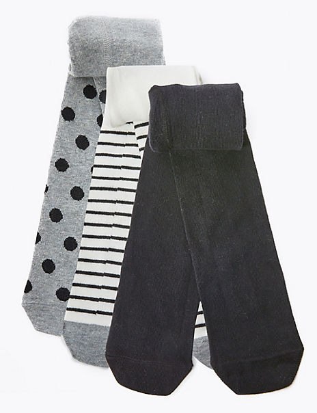 3 Pairs of Star & Spot Print Tights (18 Months - 14 Years)