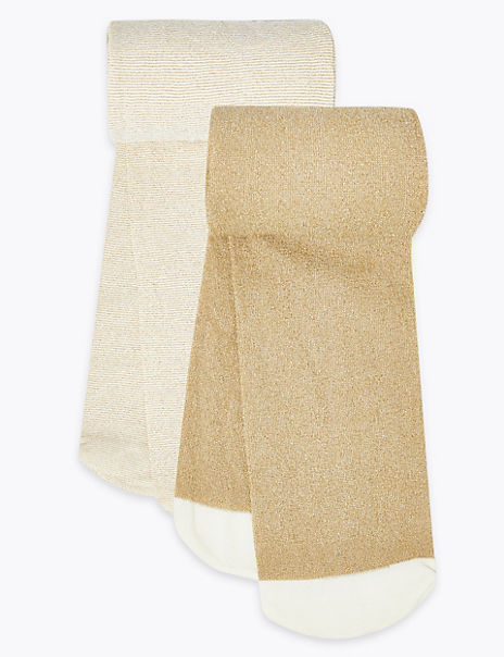 2 Pairs of Glittery Opaque Tights