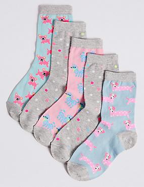 5 Pairs of Dog Socks (2-14 Years)