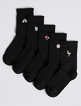 5 Pairs of Embroidered Socks (1-14 Years)