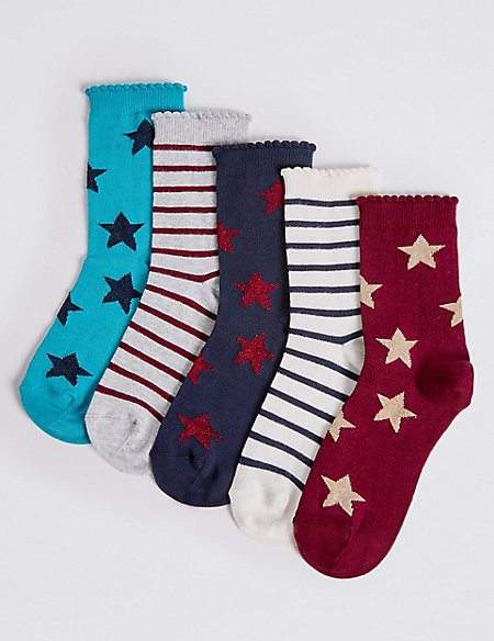 5 Pairs of Cotton Rich Socks with Freshfeet™ (1-14 Years)