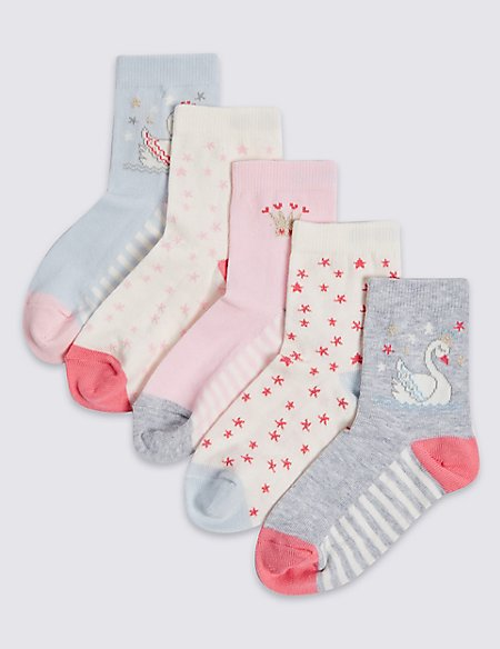 5 Pairs of Cotton Rich Socks (1-6 Years)