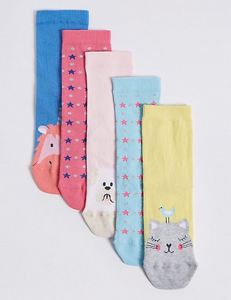 5 Pairs of Cotton Rich Novelty Socks (1-14 Years)