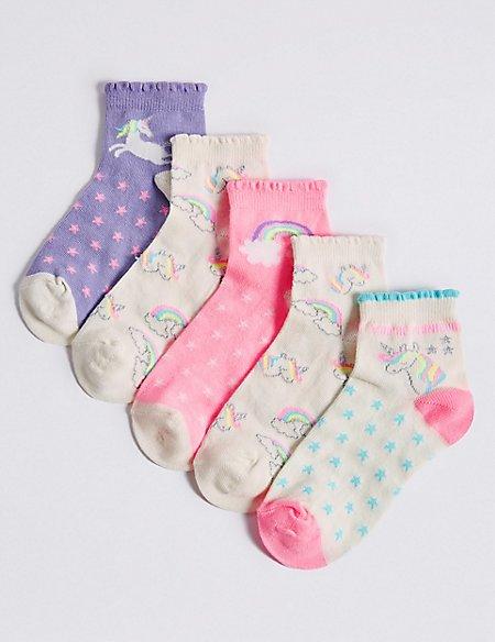 5 Pairs of Unicorn Ankle Socks (1-14 Years)