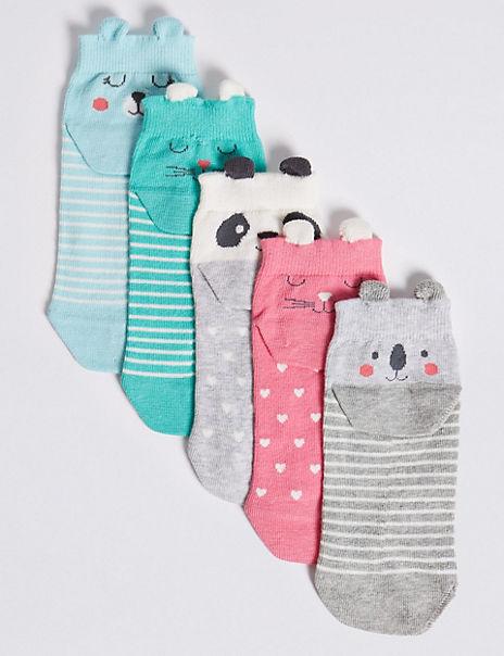 5 Pairs of Animal Print Trainer Liner Socks