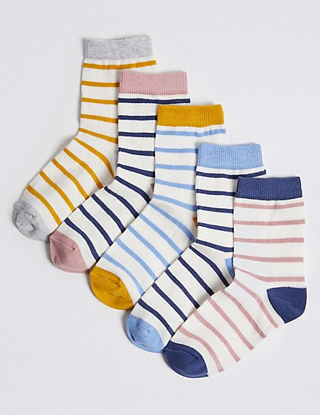 5 Pairs of Striped Socks with Freshfeet™