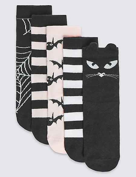 5 Pairs of Freshfeet™ Cotton Rich Halloween Socks (2-11 Years)