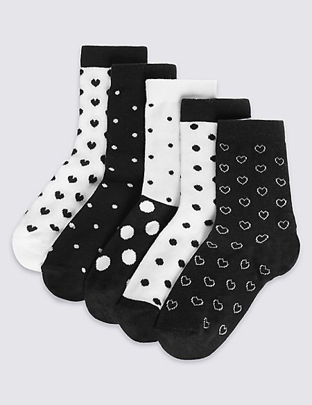5 Pairs of Cotton Rich Monochrome Spotted Socks (1-14 Years)