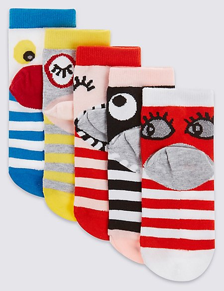 5 Pairs of Freshfeet™ Cotton Rich Novelty Assorted Socks (1-14 Years)