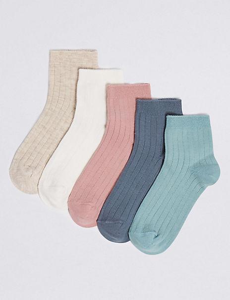 5 Pairs Ribbed Socks