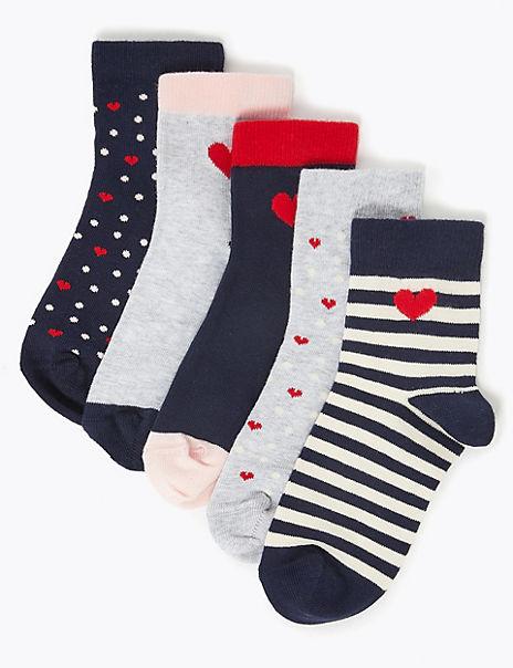 5 Pairs of Heart Print Socks