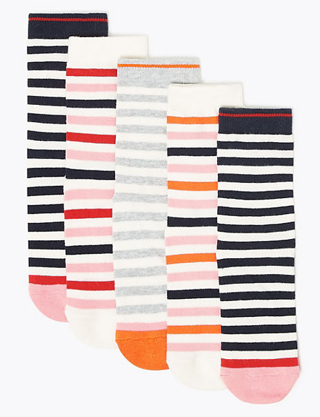 5 Pack of Cotton Rich Striped Socks