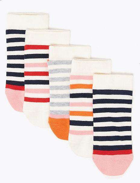 5 Pack of Striped Trainer Liner Socks