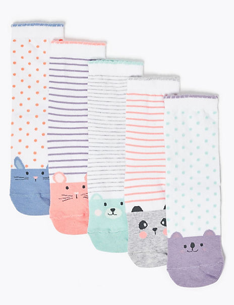 5 Pack Cotton Rich Animal Socks