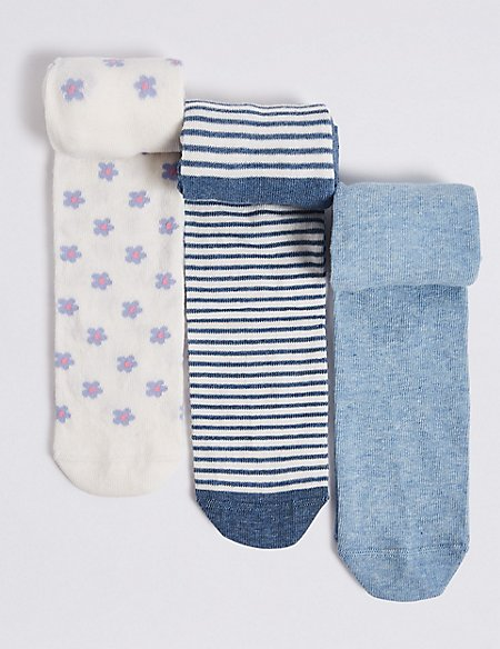 3 Pairs of Cotton Rich Baby Tights (0-24 Months)