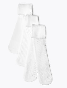 3 Pack of Pelerine, Ribbed & Plain White Tights