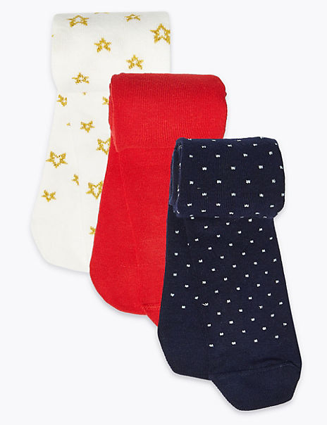 3 Pack Spot & Star Tights (0 Month - 24 Months)