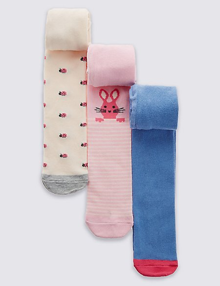 3 Pairs of Novelty StaySoft™ Tights (0-24 Months)