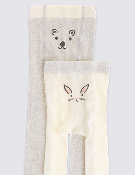 2 Pack Cotton Blend Animal Novelty Tights (0-24 Months)