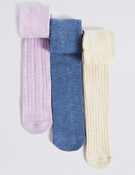 3 Pairs of Cotton Rich Staysoft™ Tights (0-24 Months)