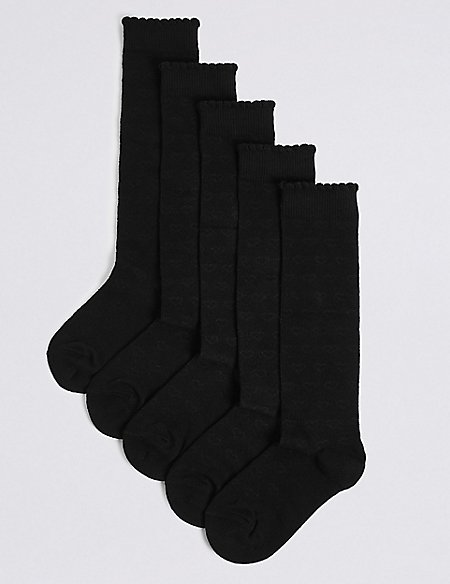 5 Pairs of Heart Print Knee High Socks (3-14 Years)
